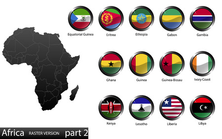 High detailed national flags of African countries, clipped in round shape glossy metal buttons, vector, part 2  Ilustrace