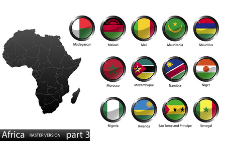 High detailed national flags of African countries, clipped in round shape glossy metal buttons, vector, part 3 Reklamní fotografie - 29298971