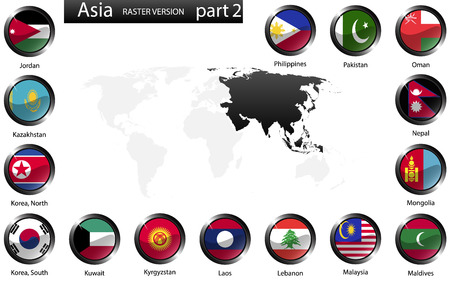 High detailed national flags of Asian countries, clipped in round shape glossy metal buttons, vector, part 2