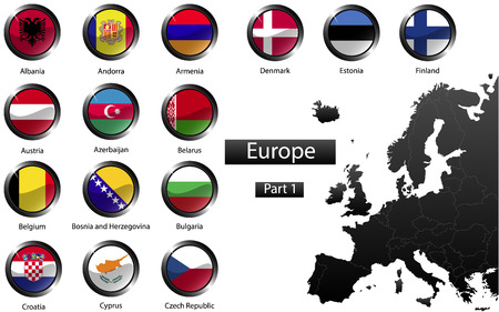High detailed national flags of European countries, clipped in round shape glossy metal buttons, vector , part 1 Vector