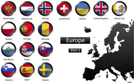 bandera de portugal: Banderas nacionales detalladas de alta de los países europeos, recortadas en forma de brillantes botones redondos de metal, vector, parte 3