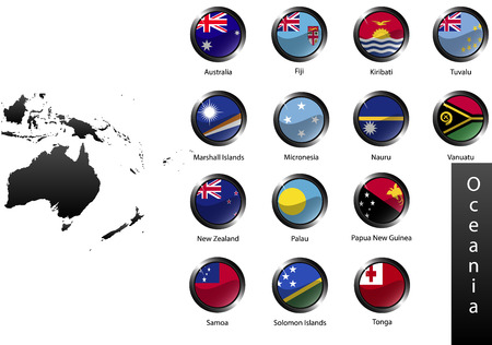 oceania: High detailed national flags of Australia and Oceania countries, clipped in round shape glossy metal buttons, vector