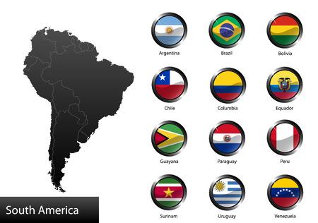 bandera argentina: Banderas nacionales detalladas de alta de los países de América del Sur, recortan en forma redonda botones de metal brillante, vector Vectores