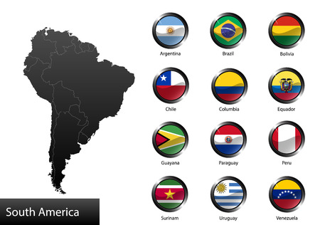High detailed national flags of South American countries, clipped in round shape glossy metal buttons, vector Vector