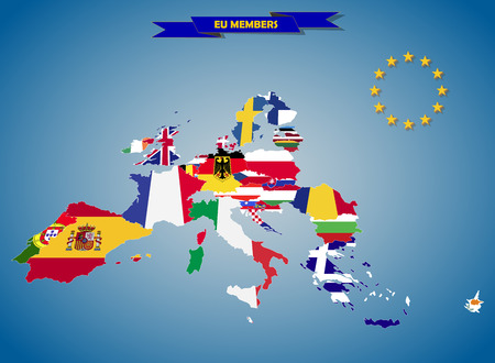 european countries: Combined flag maps of European Union countries Stock Photo