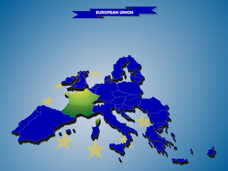 3 dimensional: 3 dimensional infographics map of European Union countries, with every state easy selectable and editable in one click. France highlighted in green, content labeled in Layers panel Illustration