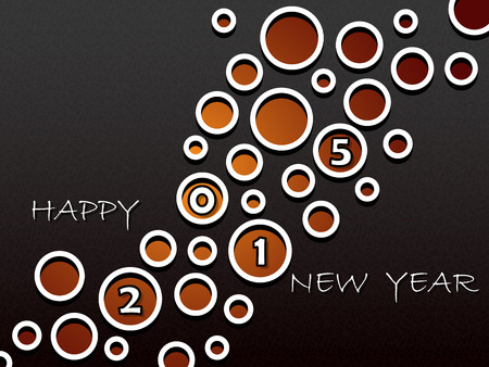 Happy New Year 2015, greeting card design with abstract holes in the dark background Reklamní fotografie - 32883763