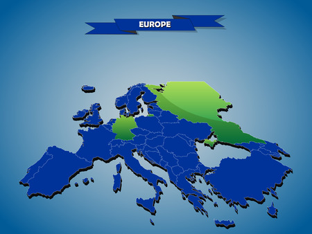 3 dimensional infographics political map of European countries, with every state easy selectable and editable in one click.Content labeled in Layers panel. Reklamní fotografie - 32940257