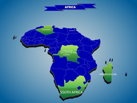 3 dimensional infographics political map of African continent, with every state easy selectable and editable in one click.Content labeled in Layers panel. Vector