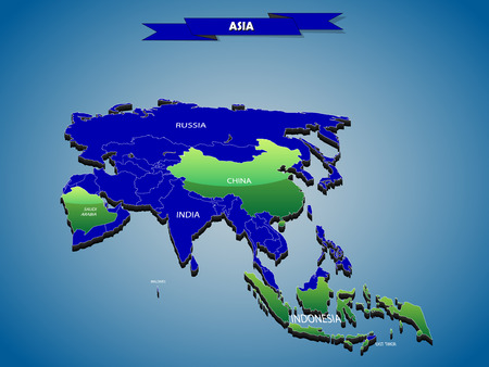 3 dimensional: 3 dimensional infographics political map of Asian continent, with every state easy selectable and editable in one click.Content labeled in Layers panel. Illustration
