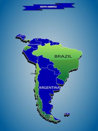 3 infografías tridimensionales mapa político del continente sudamericano, con cada fácil seleccionable Estado y editables en una click.Content etiquetados en el panel Capas.