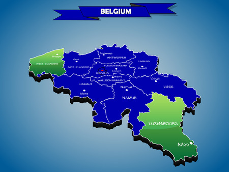 3 dimensional: 3 dimensional infographics political map of Belgium, with every province easy selectable and editable in one click. Content labeled in Layers panel. Illustration