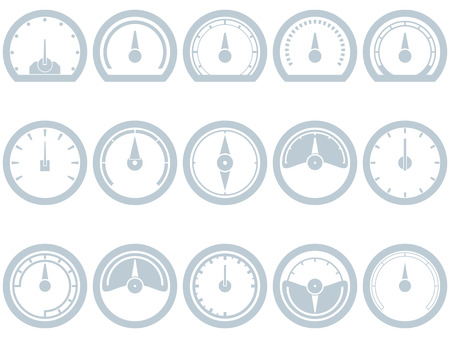 Set of fifteen flat, simple, speedometer style icons. Speedometer, Fuel, Scale, Full, Empty, Battery, Status. Eps 8.