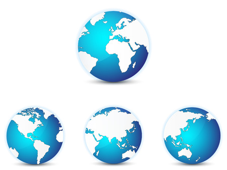 World globe icons set, with different continents in focus. Isolated on white.