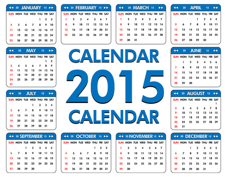 sundays: Calendar for the year of 2015. Week starts with Sundays (highlighted in red)