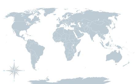 mapa mundi: Mapa del mundo gris pol�tico con bordes blancos. Vectores