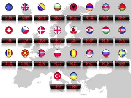 japanese currency: Countries flags with official currency symbols Europe