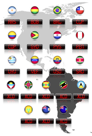 japanese currency: Countries flags with official currency symbols South America and East Caribbean dollar countries Illustration