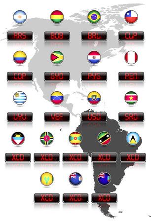 signos de pesos: Indicadores de países con los países de dólar símbolos de moneda oficial de América del Sur y el Este del Caribe