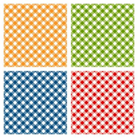 市松模様のテーブル クロスのシームレスなパターンを斜め  イラスト・ベクター素材