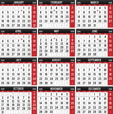 Calendar for the year of 2016