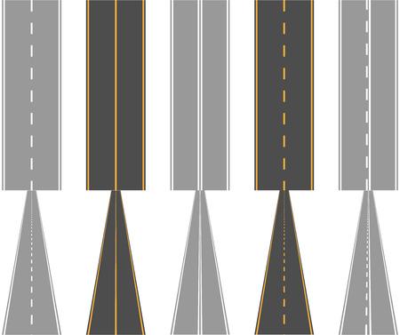Asfaltwegen met verkeer oppervlak markering lijnen normaal en perspectief