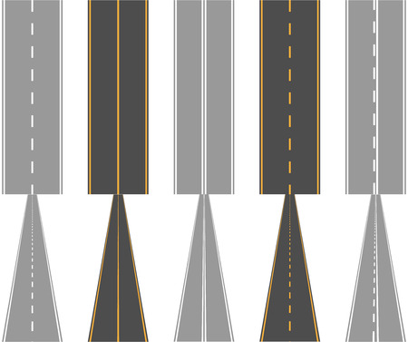 Asphalt roads with traffic surface marking lines normal and perspective view