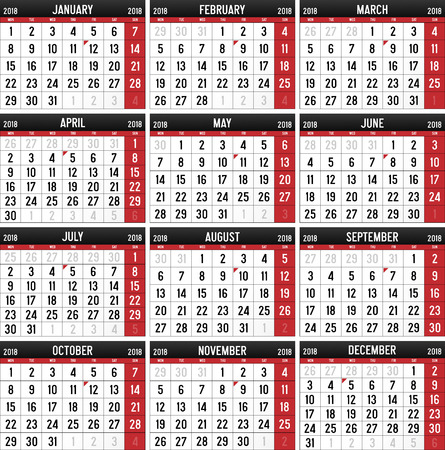 Calendar for the year of 2018 Illustration