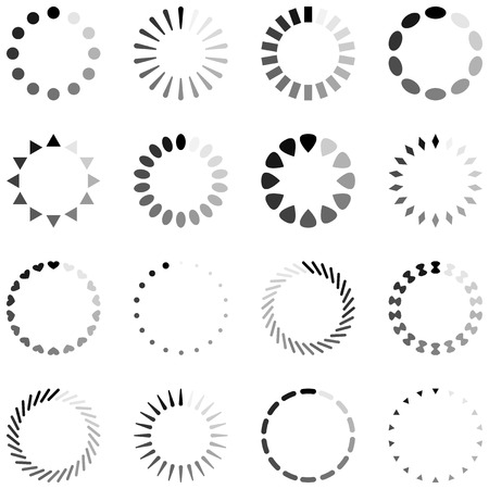 spinner: Loading, progress or buffering spinning icons, black and white