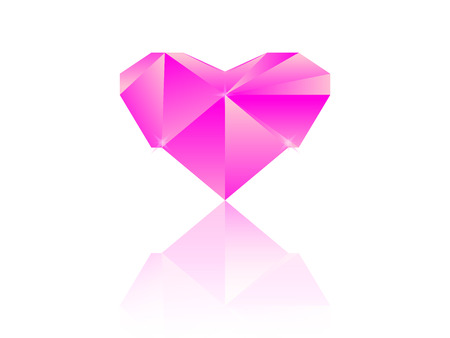 reflection: Pink diamond heart, with reflection