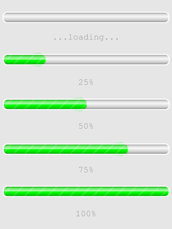 response time: Green progress, loading or downloadupload bars, empty, 25 , 50 , 75 , 100 Illustration