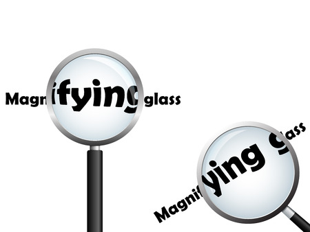 Magnifying glass, positioned over text, isolated on white Illustration