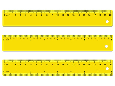 Set of three yellow rulers, marked in centimeters, inches and combined, rectangular shape. Graduation of inches ruler of 1/16