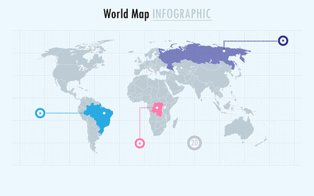 Infographic world map, every country and continent selectable independently.