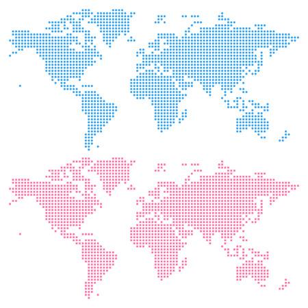 円 (上) と (下) の正方形パターンのないから作成された世界地図。クリック 1 つで簡単に色を編集します。  イラスト・ベクター素材