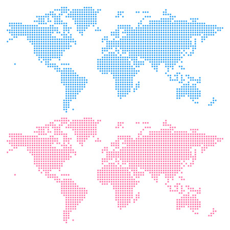 World map created from circles (upper) and squares (lower), not a pattern. Edit colors easy in one click. Иллюстрация