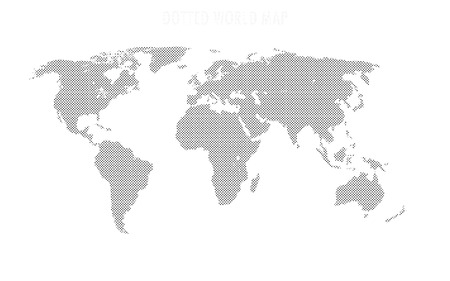 World map shape, filled with circles pattern Иллюстрация