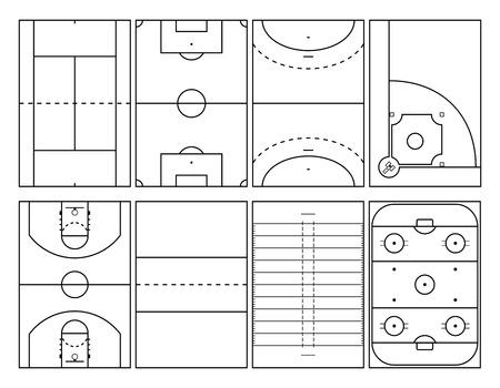terrain de handball: terrains de sport populaires contours, vue de haut