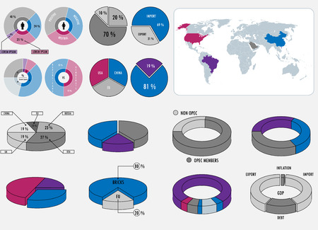 Infographic elements pack, round shaped. World map with all countries select-able included.