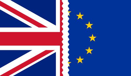 Brexit. Illustration of UK and EU flags teared apart in the middle Illusztráció