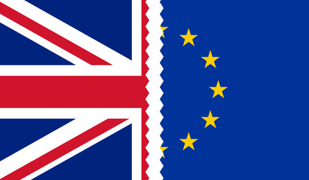 Brexit. Illustration of UK and EU flags teared apart in the middle Illustration