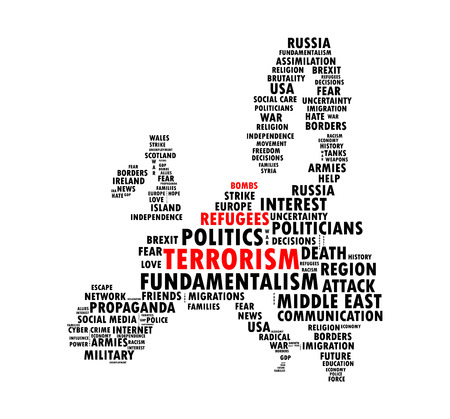 Words collage, shaped like the map of European continent, with words bombs, refugees and terrorism highlighted in red Illustration