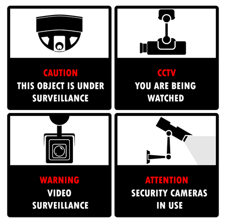 Surveillance cameras icons with warning text