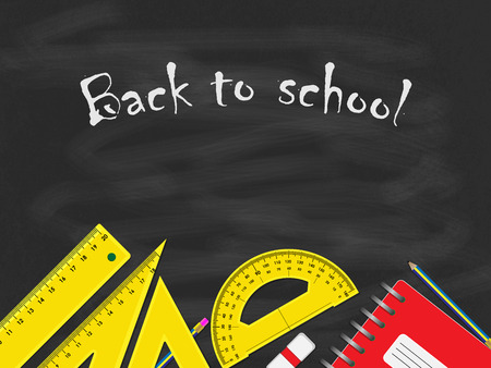 Back to school concept, school items placed on the bottom of black blackboard. Фото со стока