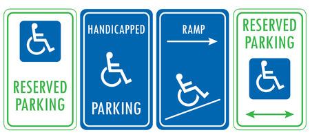 Handicapped reserved parking signs. Wheelchair ramp access sign Illusztráció