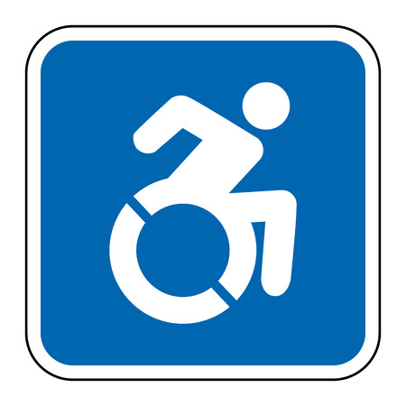 Blue square handicapped sign with wheelchair, modified in New York state Reklamní fotografie - 65840017