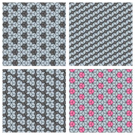 Set of 3d creating illusion cube seamless patterns Illustration