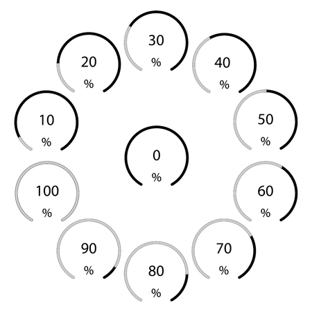 Circle shape, flat progress indicators, 10% steps