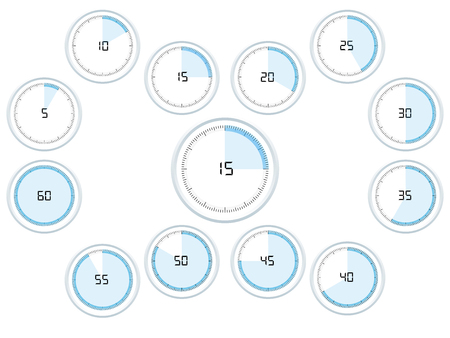 Analog timer counting in 5 seconds or minutes interval, from 5 to 60.