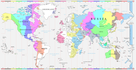 World time zones map, and political map of the world. Every country and time zone is possible to select and edit individually, versatile file.